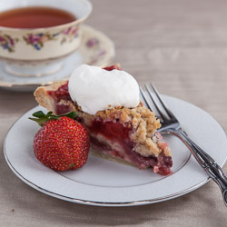 Strawberry Pie with Crumb Topping and Almond Whipped Cream