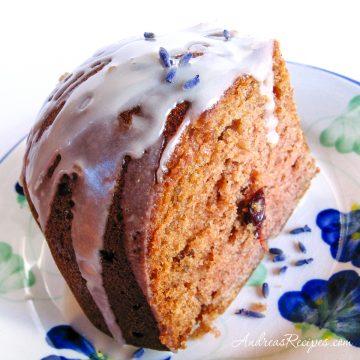 Applesauce Cake with Citrus Lavender Glaze - Andrea Meyers