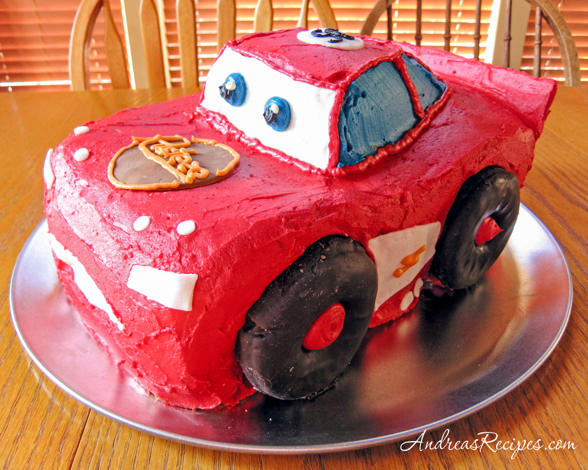 Lightning McQueen Birthday Cake, side view - Andrea Meyers