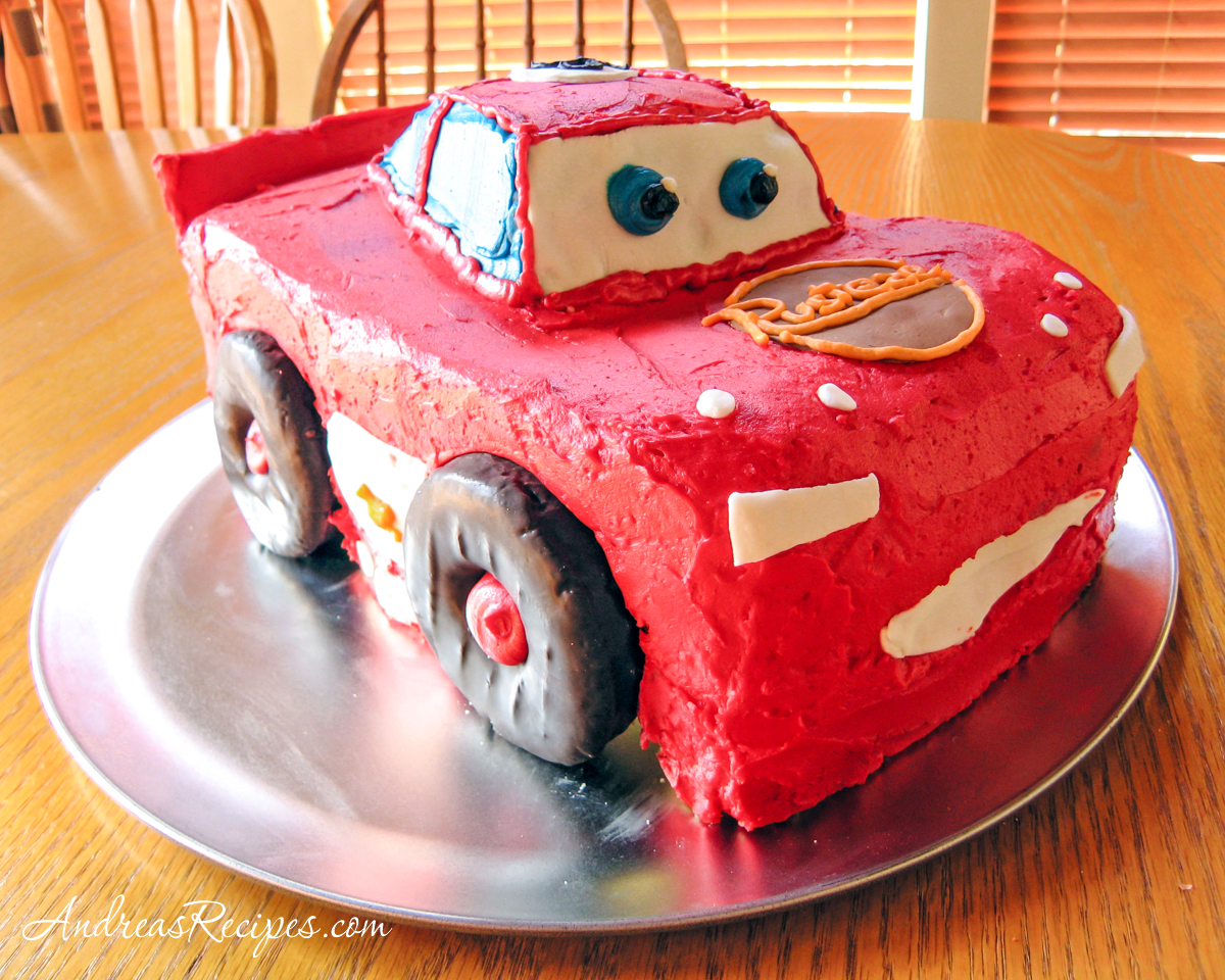 Lightning McQueen Birthday Cake, front left view - Andrea Meyers