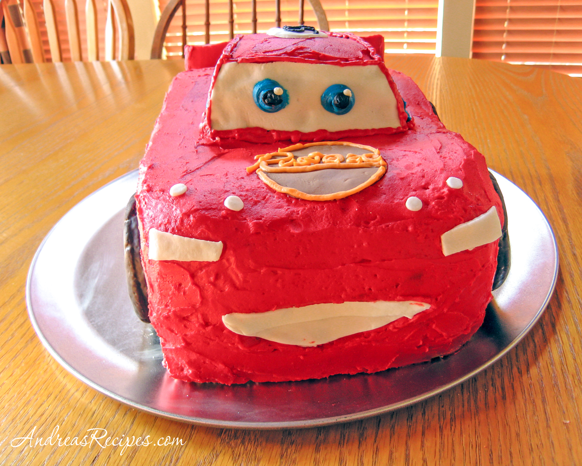 Lightning McQueen Birthday Cake, front view - Andrea Meyers