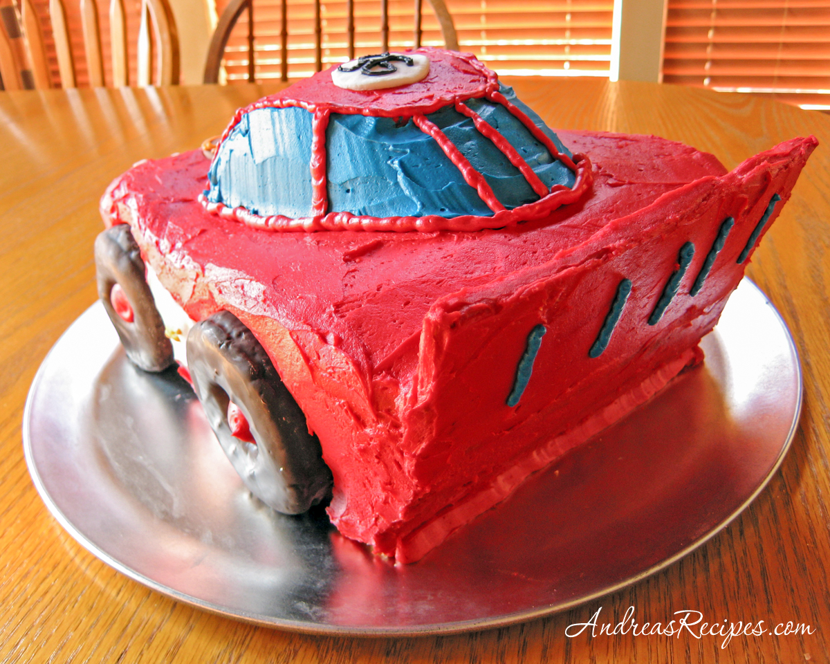 Lightning McQueen Birthday Cake, left rear view - Andrea Meyers