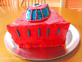 Lightning McQueen cake, rear view - Andrea Meyers