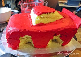 Lightning McQueen cake, red frosting crumb layer - Andrea Meyers