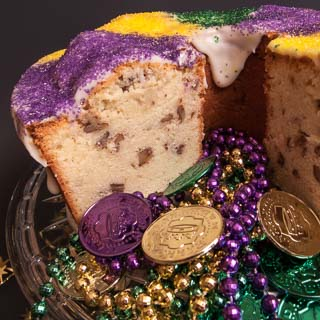 Mardi Gras Cream Cheese Pound Cake with Bourbon and Pecans - Andrea Meyers