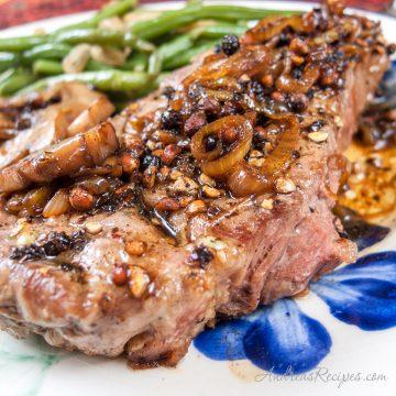 Steak au Poivre with Sauteed Porta Bella Mushrooms - Andrea Meyers