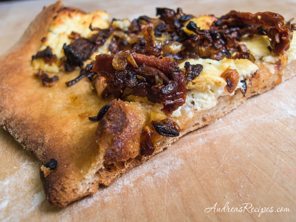 Quick Whole Wheat Pizza Dough with caramelized shallots, garlic, sun-dried tomatoes, and goat cheese - Andrea Meyers