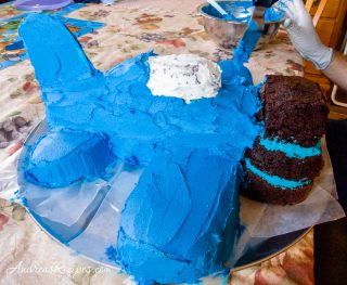 Airplane birthday cake, blue frosting crumb layer - Andrea Meyers