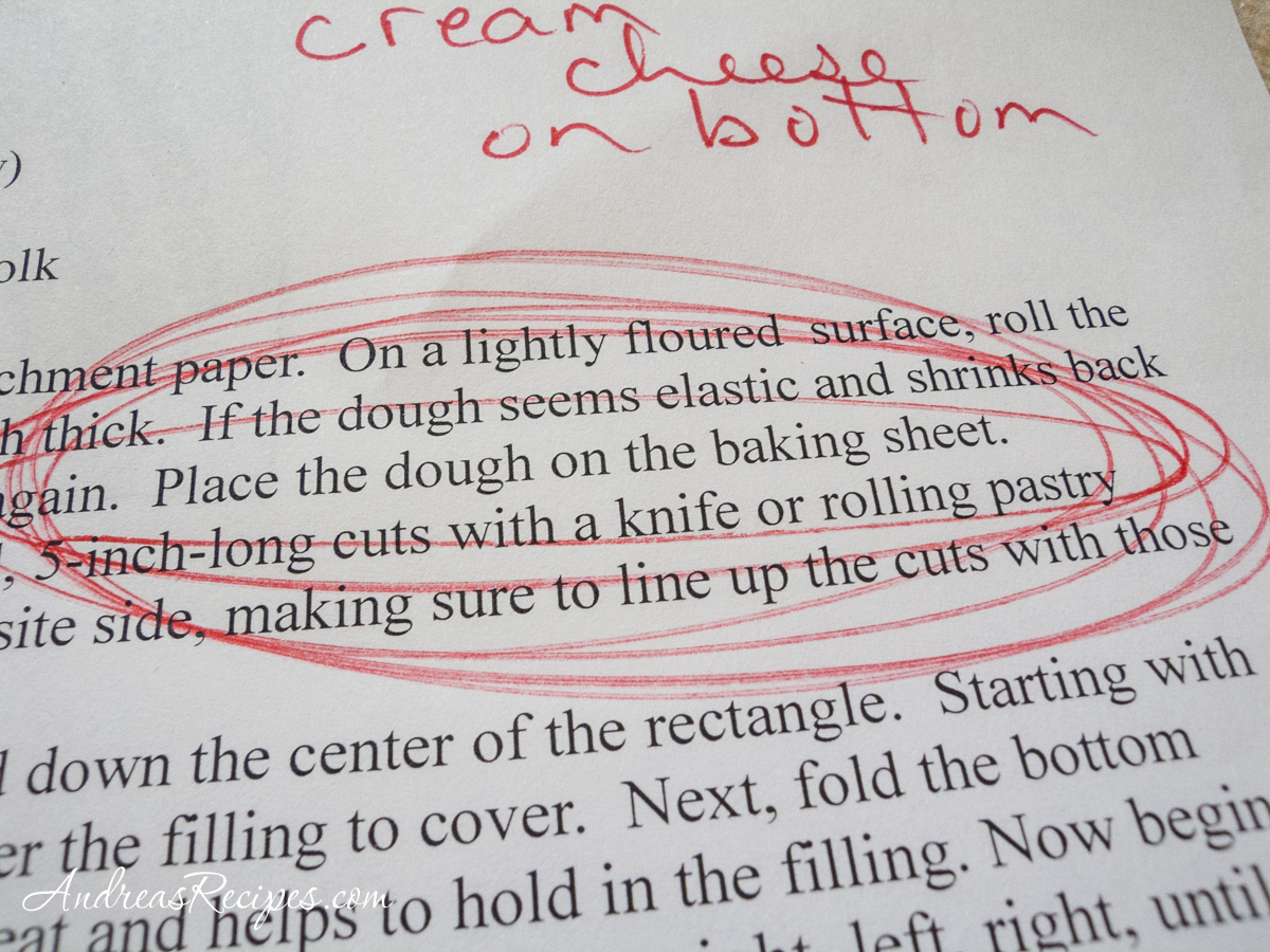 Danish Braid instructions with red pen notes - Andrea Meyers