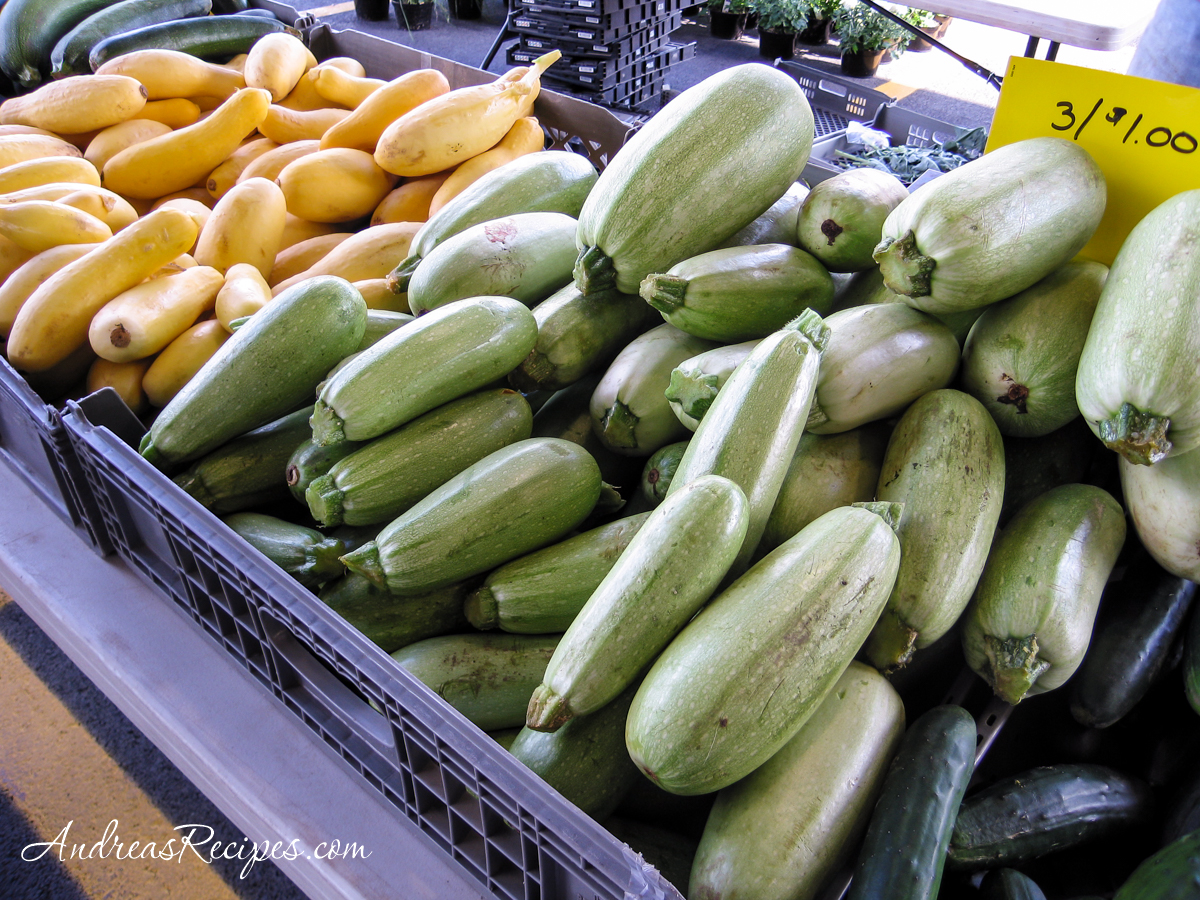 Ishtar and yellow crook-neck squash at the Central New York Regional Markets, Syracuse - Andrea Meyers