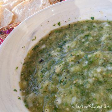 Roasted Green Tomatillo Salsa - Andrea Meyers