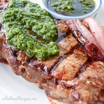 Chimichurri on steak - Andrea Meyers