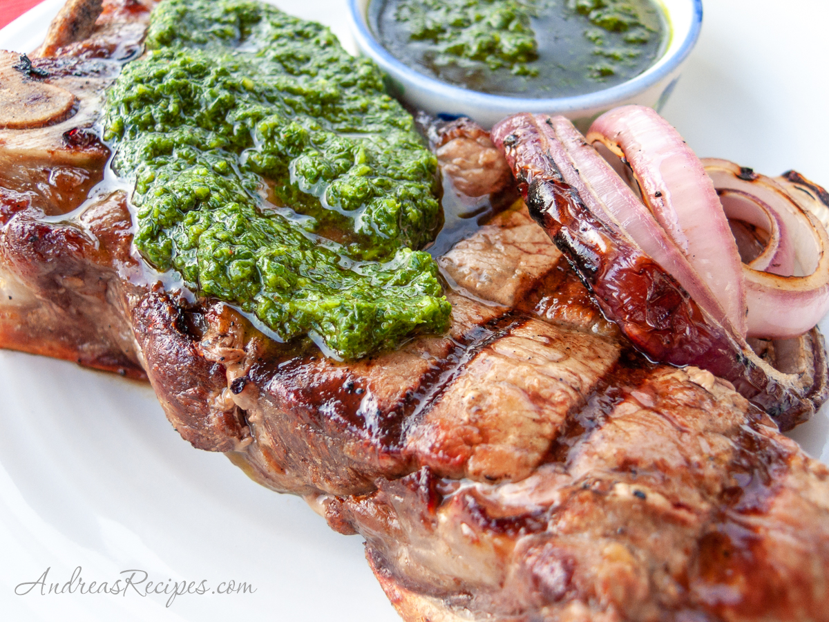 Chimichurri on steak - Andrea Meyers