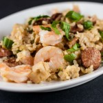 Jambalaya with Shrimp, Chicken, Andouille, and Ham - Andrea Meyers