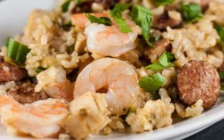 Jambalaya with Shrimp, Chicken, Andouille, and Ham and a Giveaway