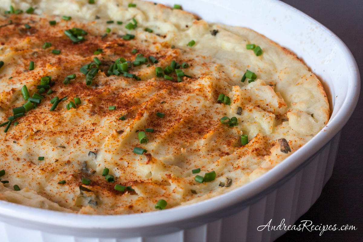 Baked Garlic Mashed Potatoes with Herbs - Andrea Meyers