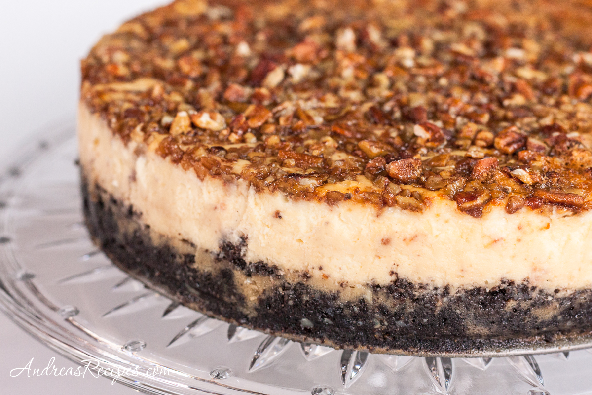 Bourbon Chocolate Pecan Cheesecake - Andrea Meyers