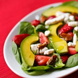 Strawberry Spinach Salad with Avocado and Champagne Vinaigrette Recipe - Andrea Meyers