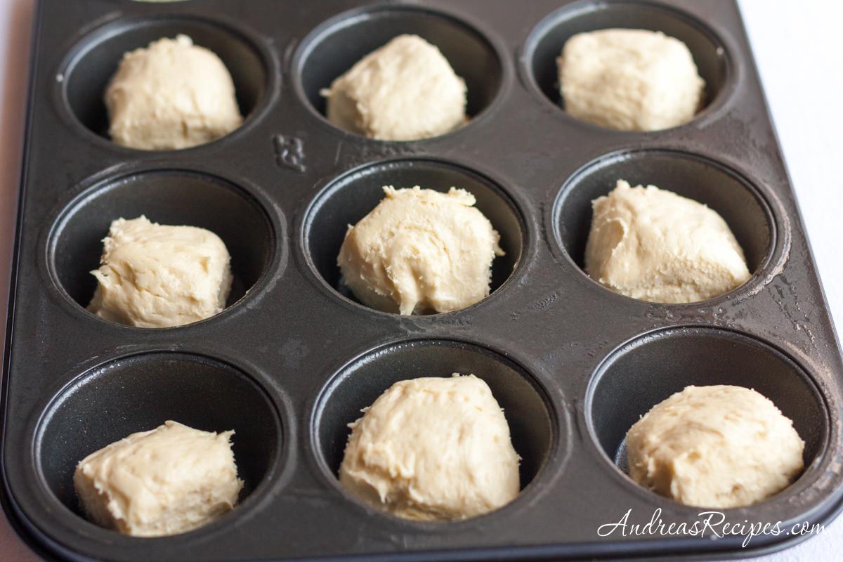 Brioche dough in a muffin tin - Andrea Meyers