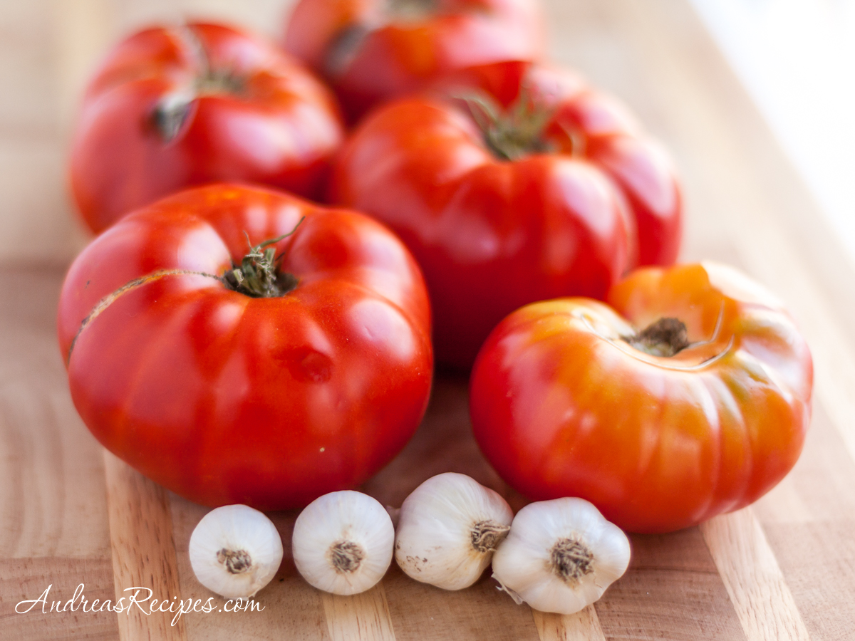 Homegrown tomatoes and garlic - Andrea Meyers