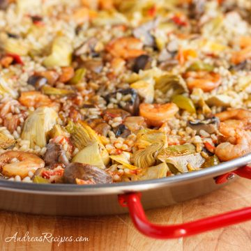 Creamy Rice with Mushrooms, Artichokes, and Shrimp - Andrea Meyers
