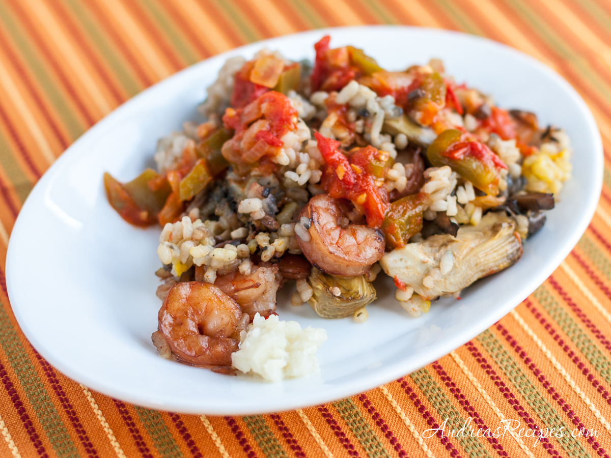 Creamy Rice with Mushrooms, Artichokes, and Shrimp - Andrea Meyers