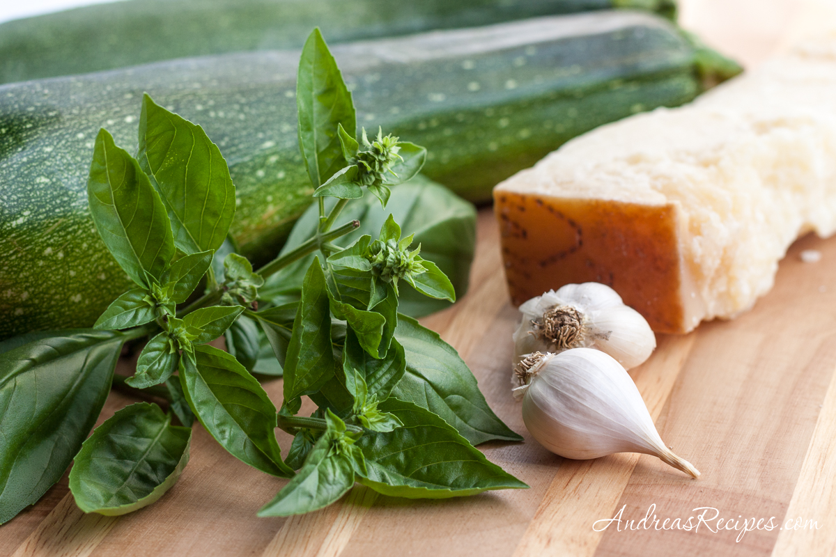 Basil, garlic, Grana Padano cheese, and zucchini squash - Andrea Meyers