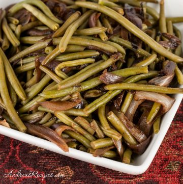 Green Beans with Caramelized Red Onions - Andrea Meyers
