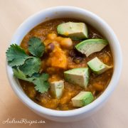 Mexican Spiced Butternut Squash Soup with Beans and Corn - Andrea Meyers