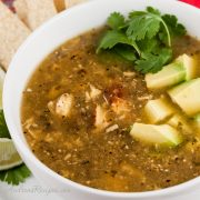 Roasted Tomatillo Soup with Chicken (Sopa Verde con Pollo) - Andrea Meyers