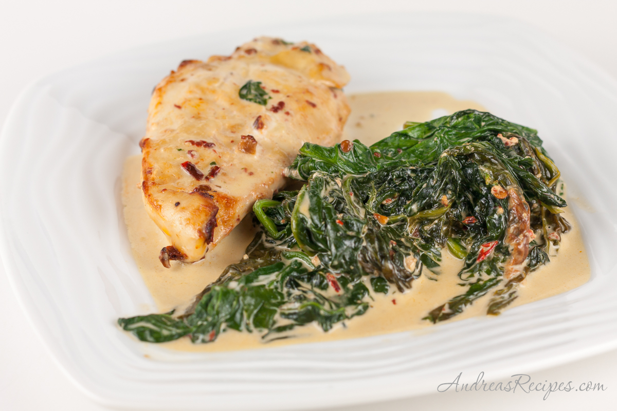 Chipotle Chicken with Creamy Spinach - Andrea Meyers