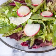 Spring Greens Salad with Asparagus, Snow Peas, Radishes, and Honey Dijon Vinaigrette - Andrea Meyers