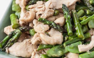 Chicken Stir-Fry with Asparagus and Snow Peas, and My Thoughts on Carbon Steel Woks