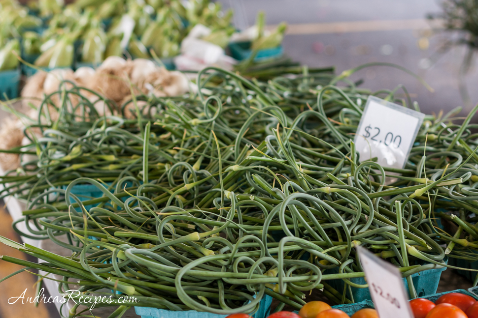 Garlic scapes at Central New York Regional Market - Andrea Meyers