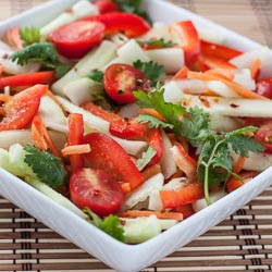 Cucumber Salad with Tomato, Bell Pepper, and Spicy Thai Lime Vinaigrette - Andrea Meyers