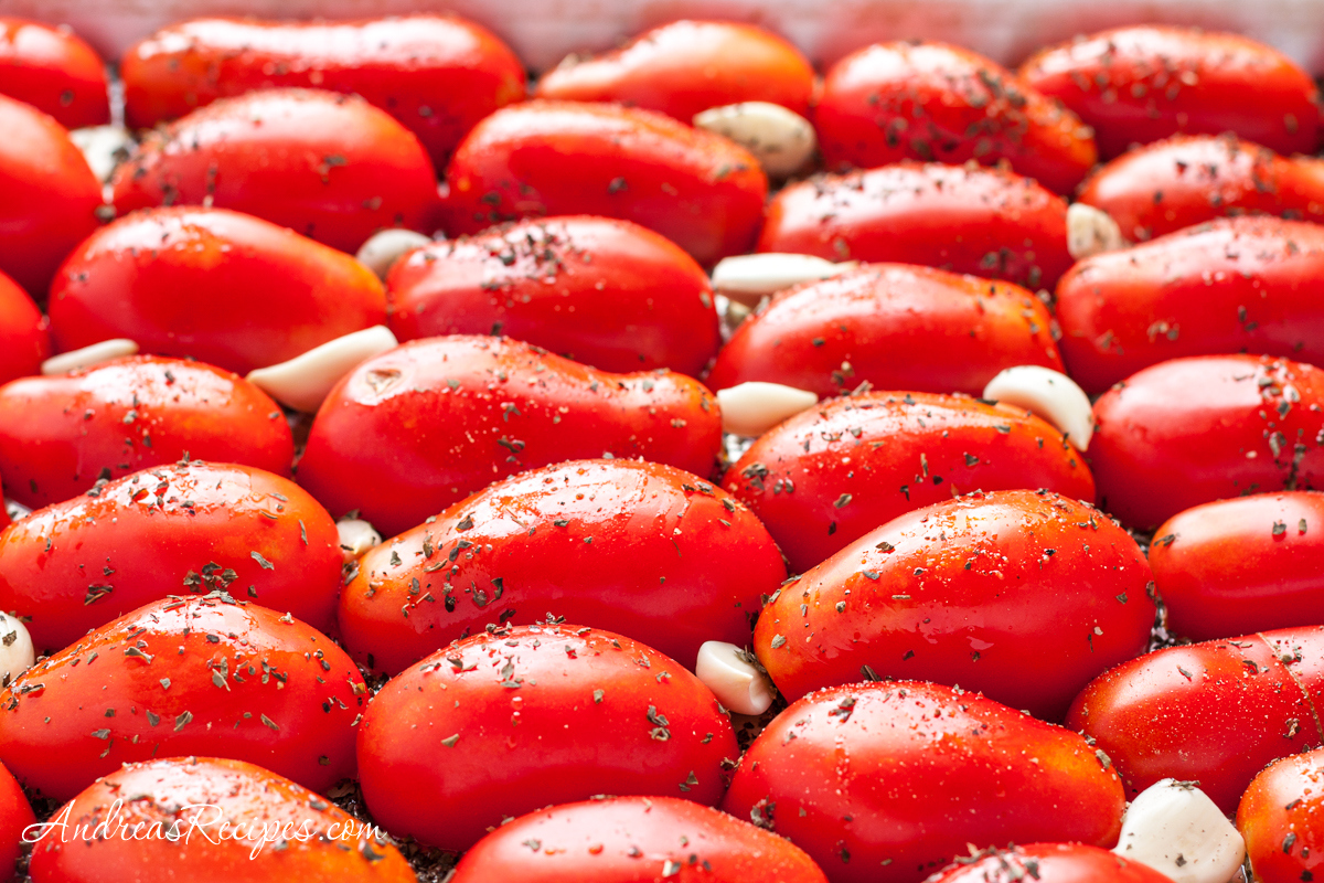 Prepped tomatoes for roasting - Andrea Meyers