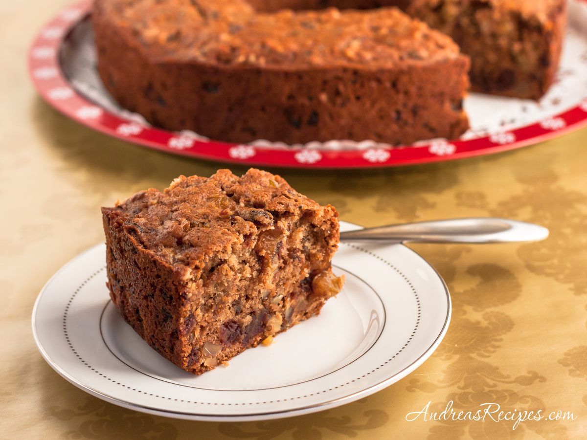 Spiced Applesauce Cake with Black Walnut, Rum Raisins, and Dates - Andrea Meyers
