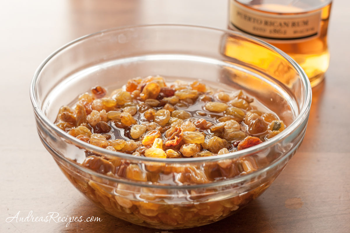 Raisins soaking in gold rum - Andrea Meyers