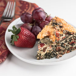 Egg White Breakfast Casserole with Sausage, Spinach, and Tomatoes