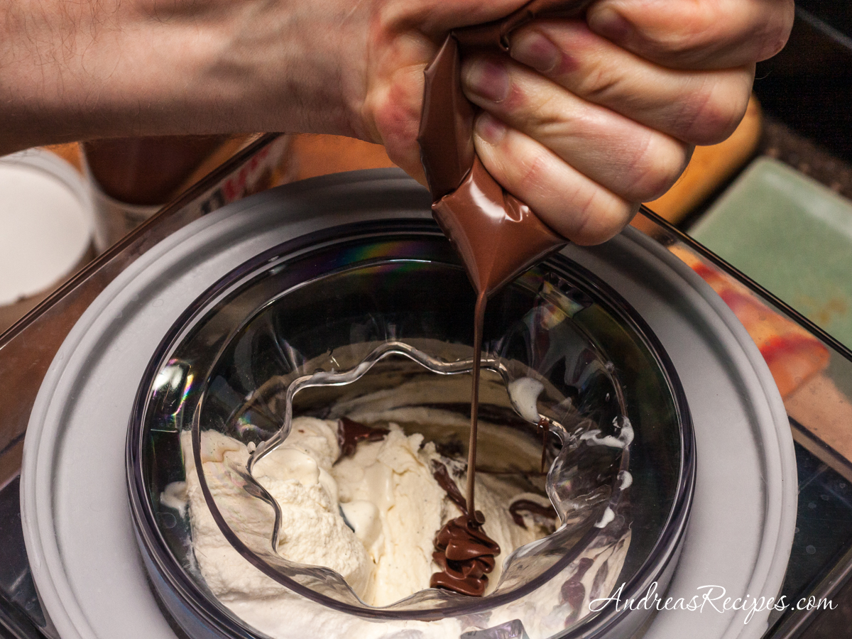 Banana Gelato with Nutella, adding the Nutella - Andrea Meyers