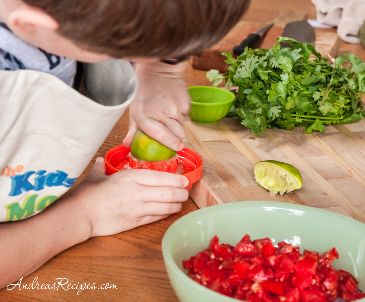 Salsa Fresca juicing limes - Andrea Meyers