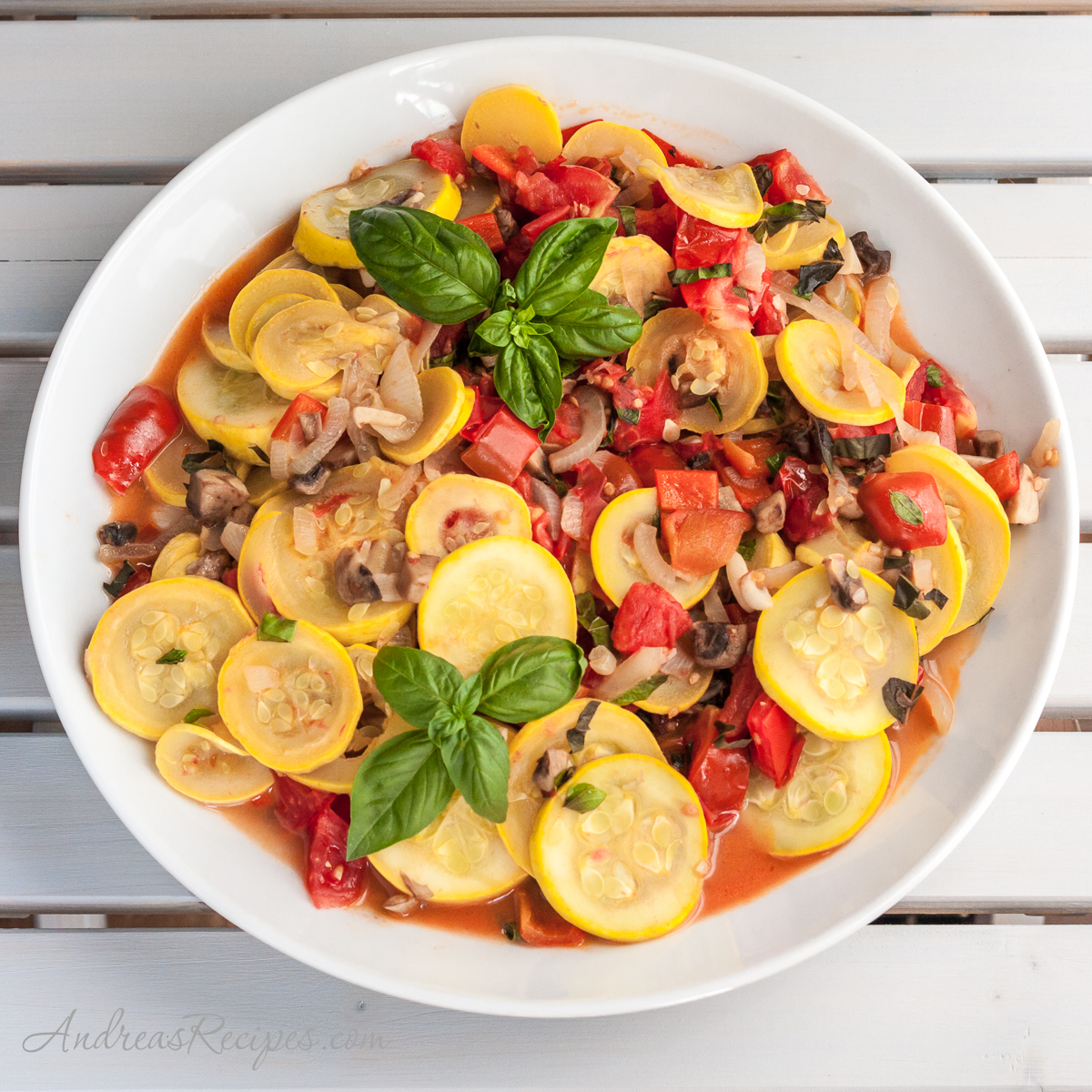 Sauteed Zucchini with Tomatoes, Mushrooms, Peppers, and Basil - Andrea Meyers
