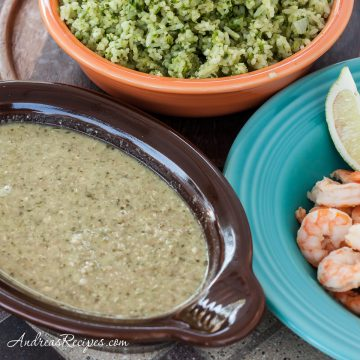 Tomatillo and Pumpkin Seed Sauce with Shrimp (Pipian Verde con Camarones) - Andrea Meyers