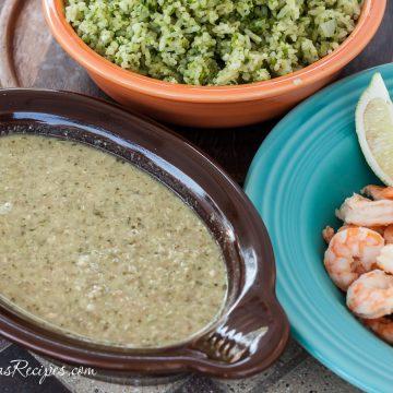Tomatillo and Pumpkin Seed Sauce with Shrimp (Pipian Verde con Camarones) - Andrea Meyers