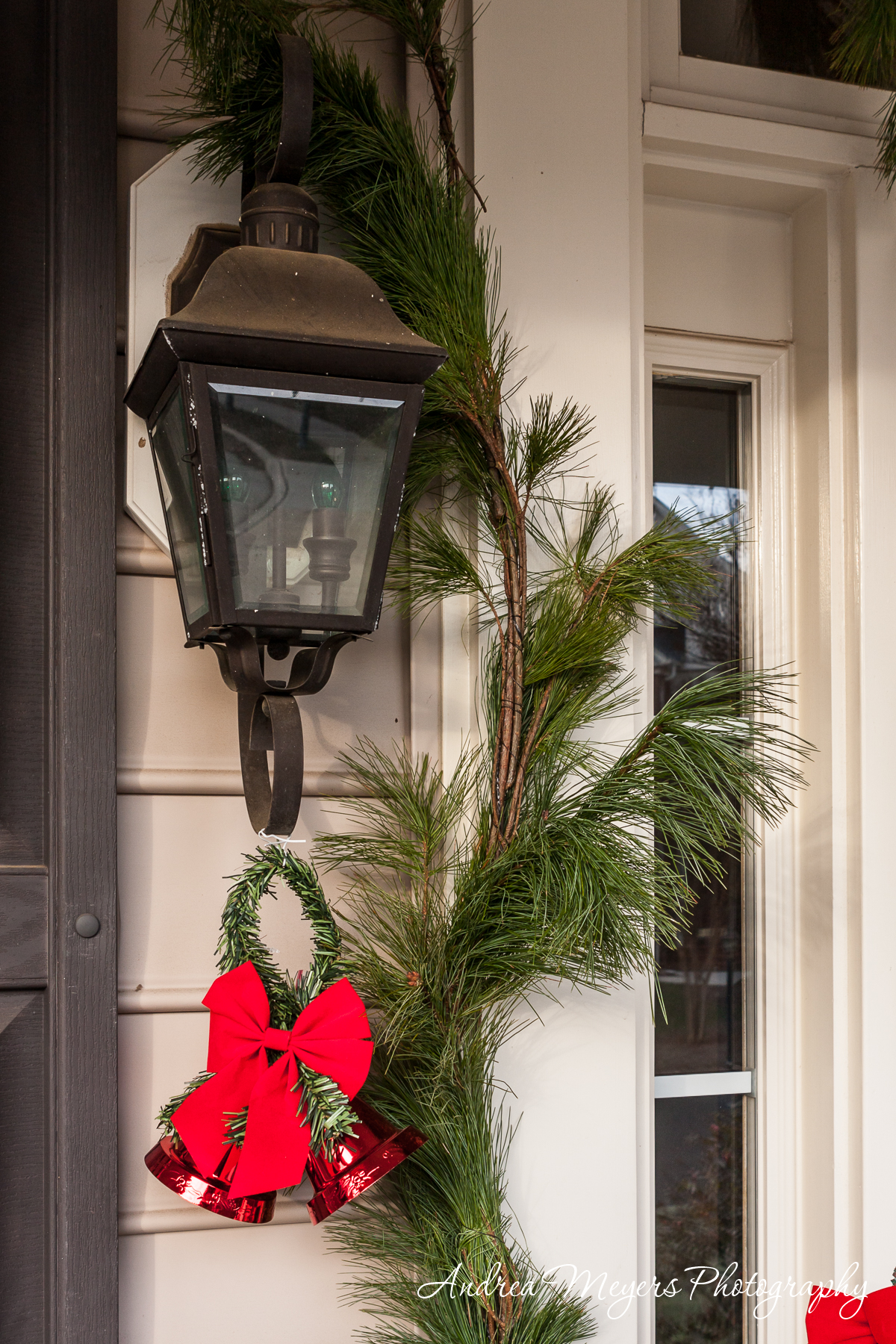 White pine garland with a red bell from Ticonderoga Farm in Loudoun County, VA
