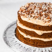 Spiced Pumpkin Layer Cake with Dulce de Leche Cream Cheese Frosting and Toasted Coconut - Andrea Meyers