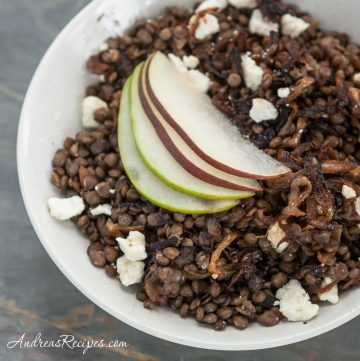 Warm Green Lentil Salad with Caramelized Onions, Feta Cheese, and Pears - Andrea Meyers