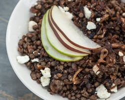Warm Green Lentil Salad with Caramelized Onions, Feta Cheese, and Pears