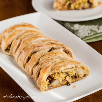 Puff Pastry Breakfast Braid with Eggs, Ham, Potatoes, Mushrooms, and Goat Cheese - Andrea Meyers
