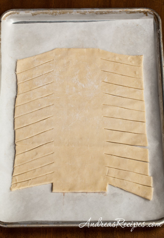Puff pastry cut for braiding - Andrea Meyers